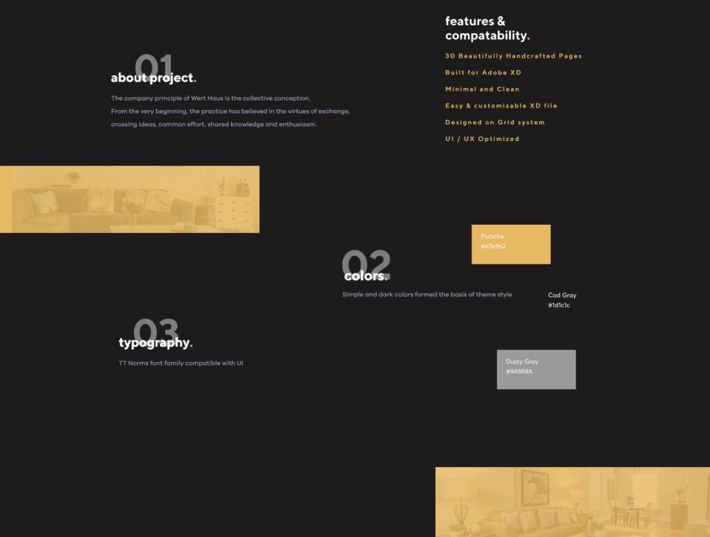 室内设计/室内装潢/装修公司门户介绍网站素材模板Werthaus Architecture UI Kit插图(3)