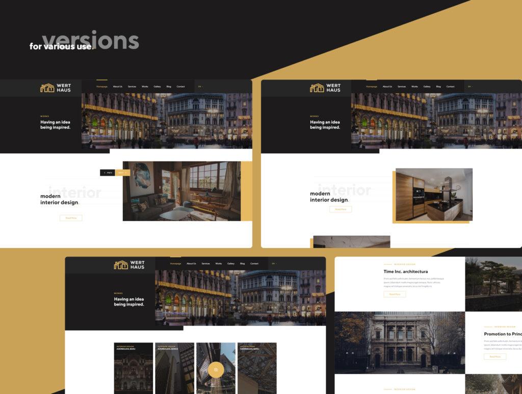 室内设计/室内装潢/装修公司门户介绍网站素材模板Werthaus Architecture UI Kit插图(5)