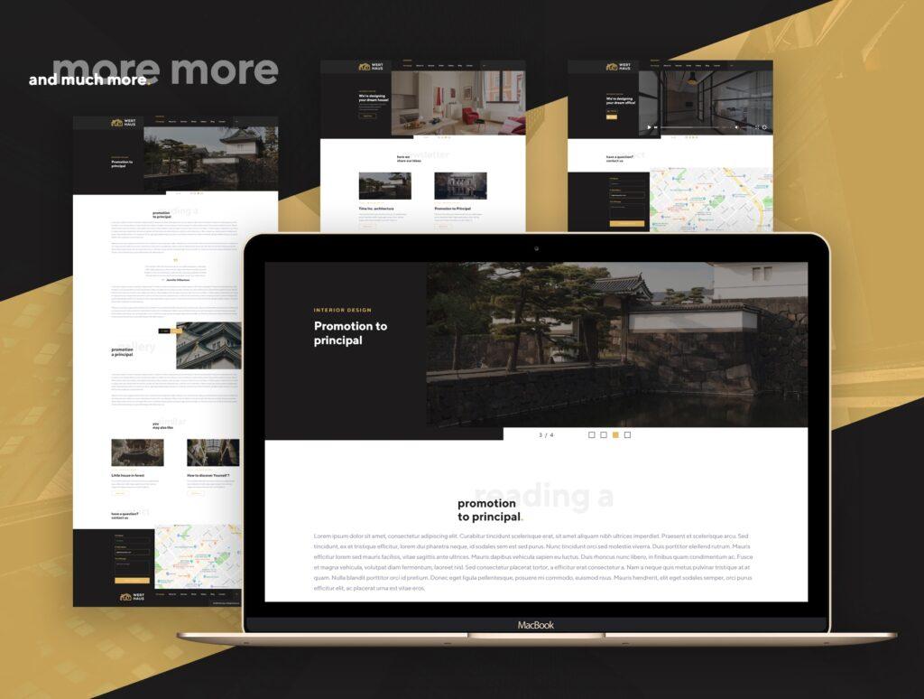 室内设计/室内装潢/装修公司门户介绍网站素材模板Werthaus Architecture UI Kit插图(6)