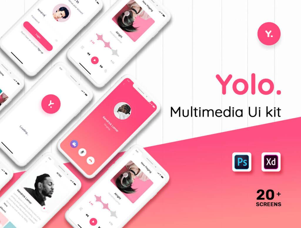 音乐移动应用程序社交媒体UIkit模型样机素材下载Yolo Multimedia Mobile App UI Kit插图(1)