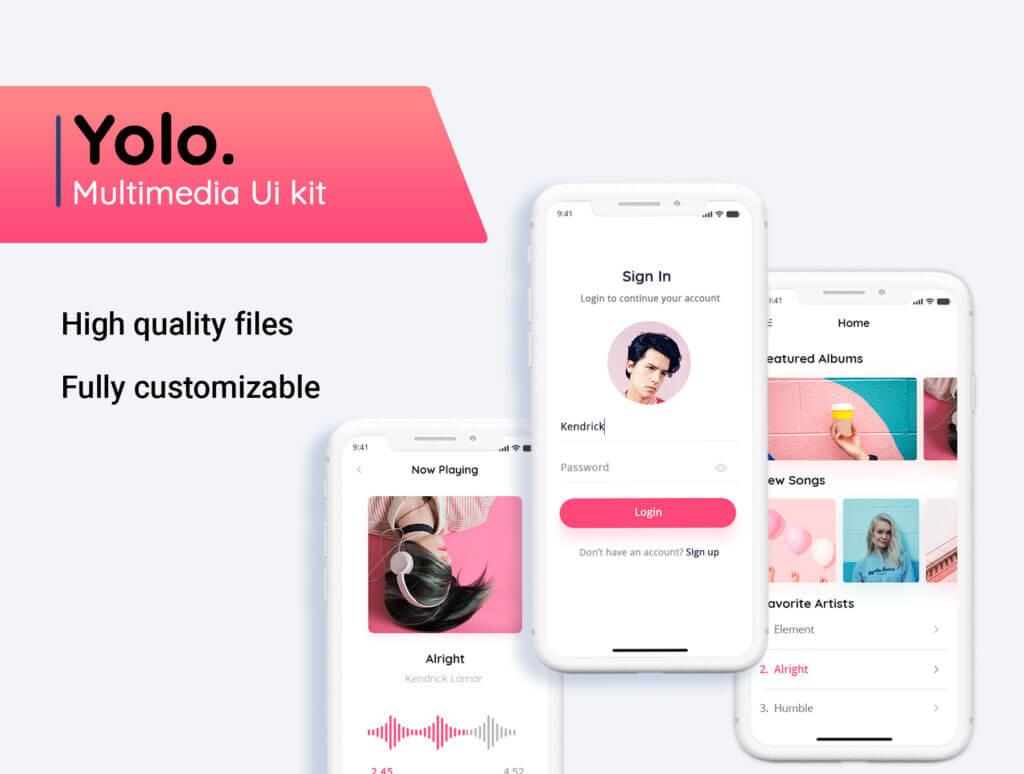 音乐移动应用程序社交媒体UIkit模型样机素材下载Yolo Multimedia Mobile App UI Kit插图(3)