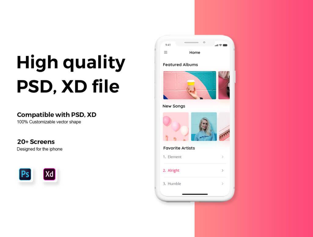 音乐移动应用程序社交媒体UIkit模型样机素材下载Yolo Multimedia Mobile App UI Kit插图(5)