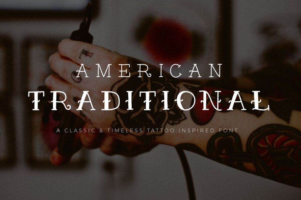 纹身装饰字体/优雅衬线英文字体下载American Traditional插图