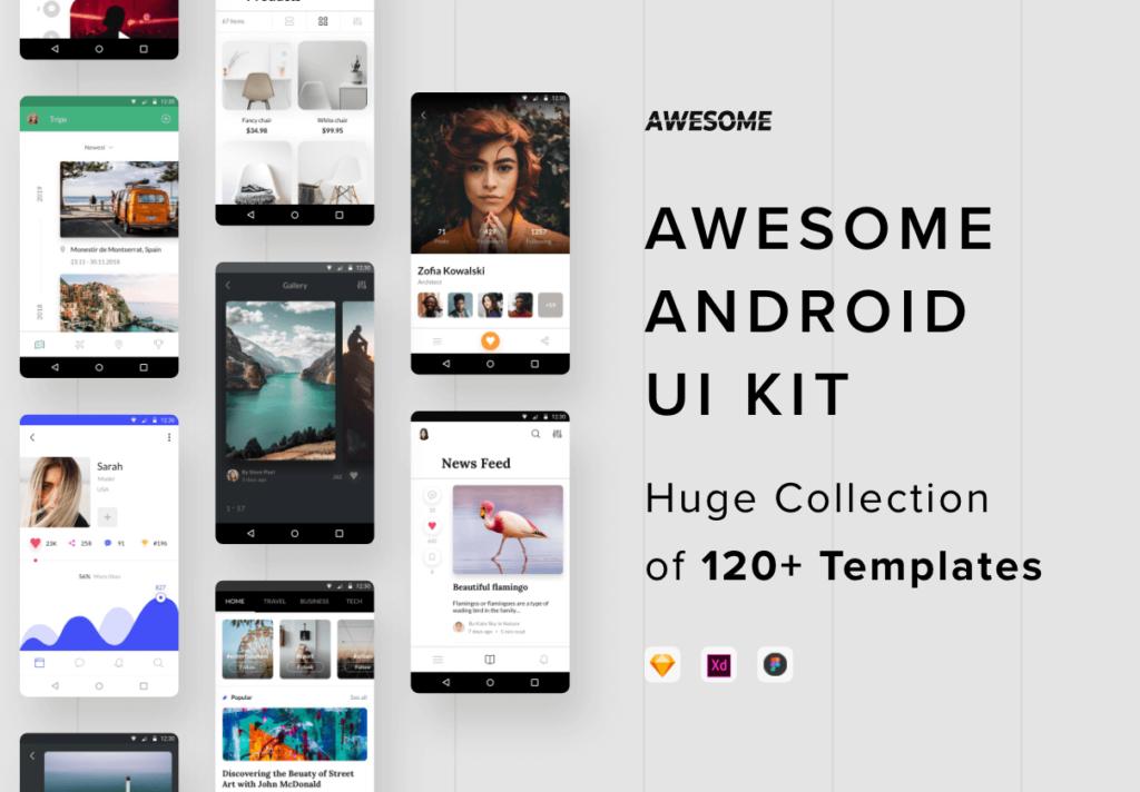 社交主题概念类UI界面设计套件素材Awesome Android UI Kit插图