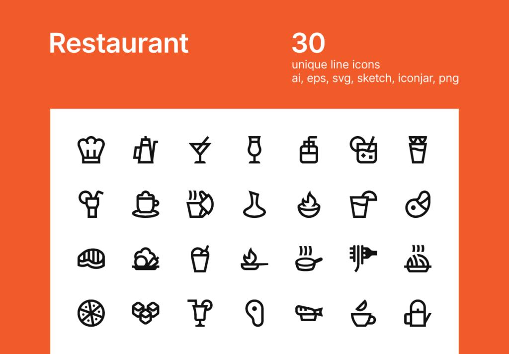 30个餐厅矢量图标线性矢量图标下载Restaurant icons插图