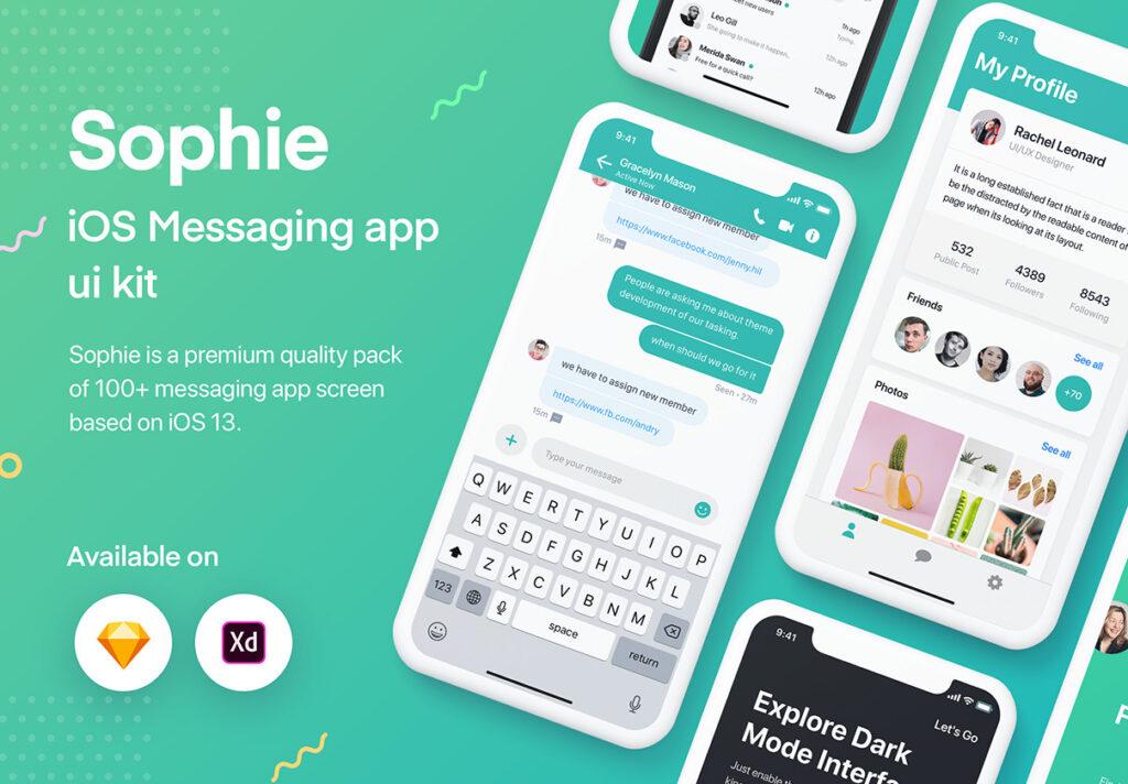 图片社交移动界面概念设计套件/日间和夜间两种主题套件源文件下载Sophie Messaging app ui kit插图