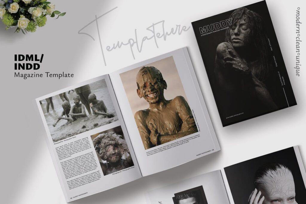 现代简约中性的杂志设计模板Muddy Photograph Magazine Template插图