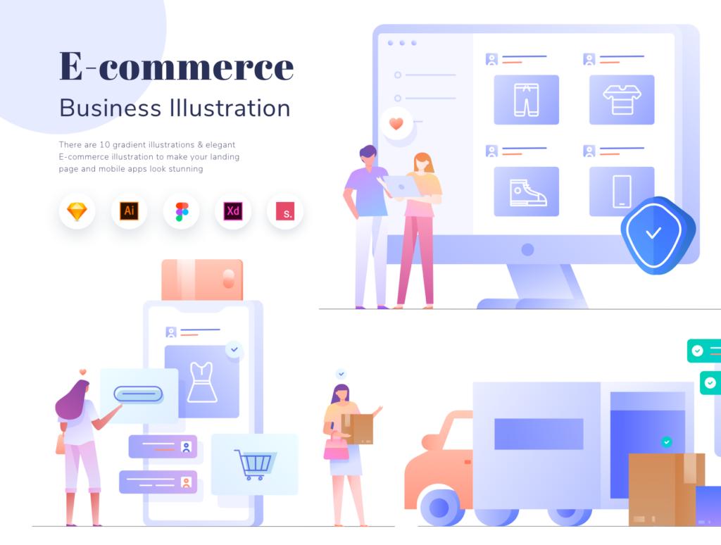 电商购物/办公场景主题概念矢量插画素材E-commerce Business Illustration KIT插图(1)