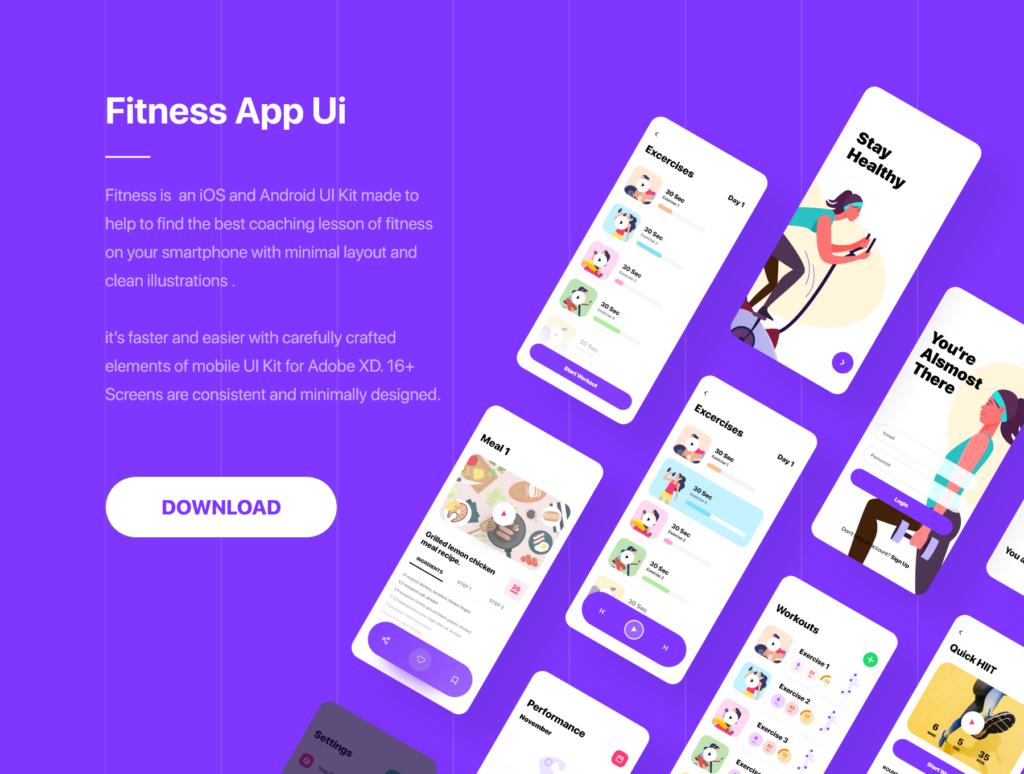 健身场景插画概念主题APP UI设计套件素材模板Fitness App Ui插图(2)