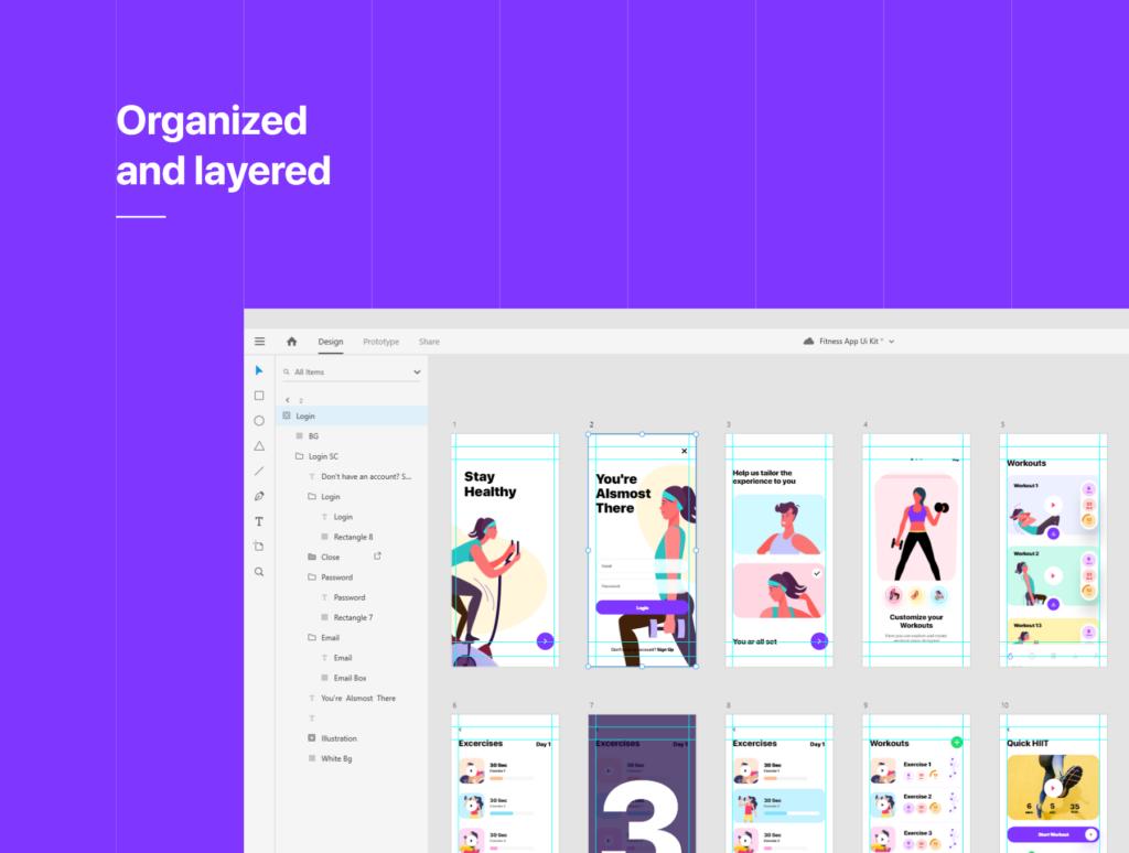 健身场景插画概念主题APP UI设计套件素材模板Fitness App Ui插图(1)