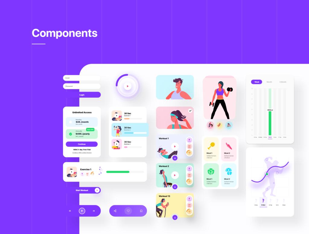 健身场景插画概念主题APP UI设计套件素材模板Fitness App Ui插图(3)
