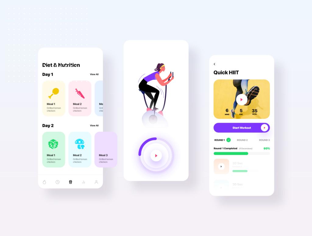 健身场景插画概念主题APP UI设计套件素材模板Fitness App Ui插图(4)