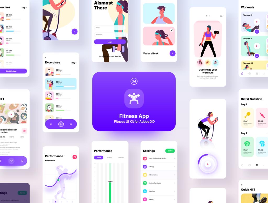 健身场景插画概念主题APP UI设计套件素材模板Fitness App Ui插图(10)
