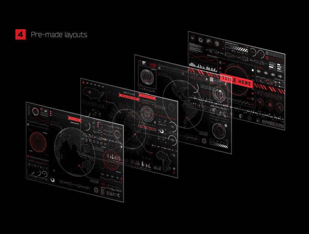 后台数据可视化数据管理界面素材模板Futuristic UI Kit • 200+ design elements插图(2)