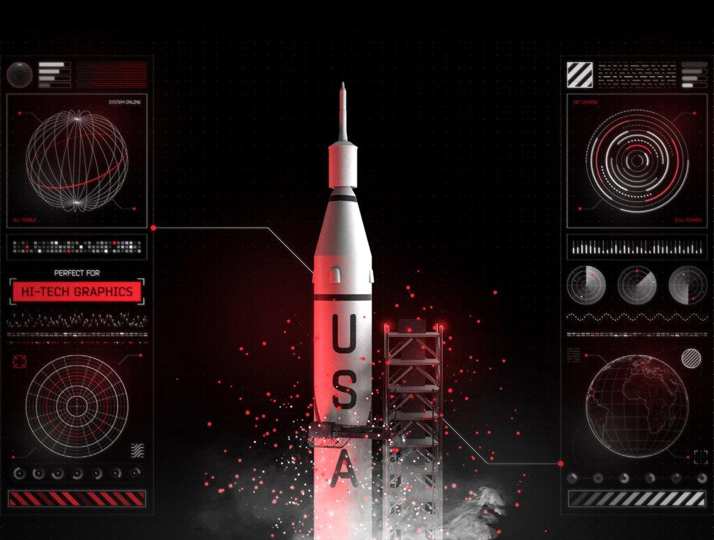 后台数据可视化数据管理界面素材模板Futuristic UI Kit • 200+ design elements插图(6)