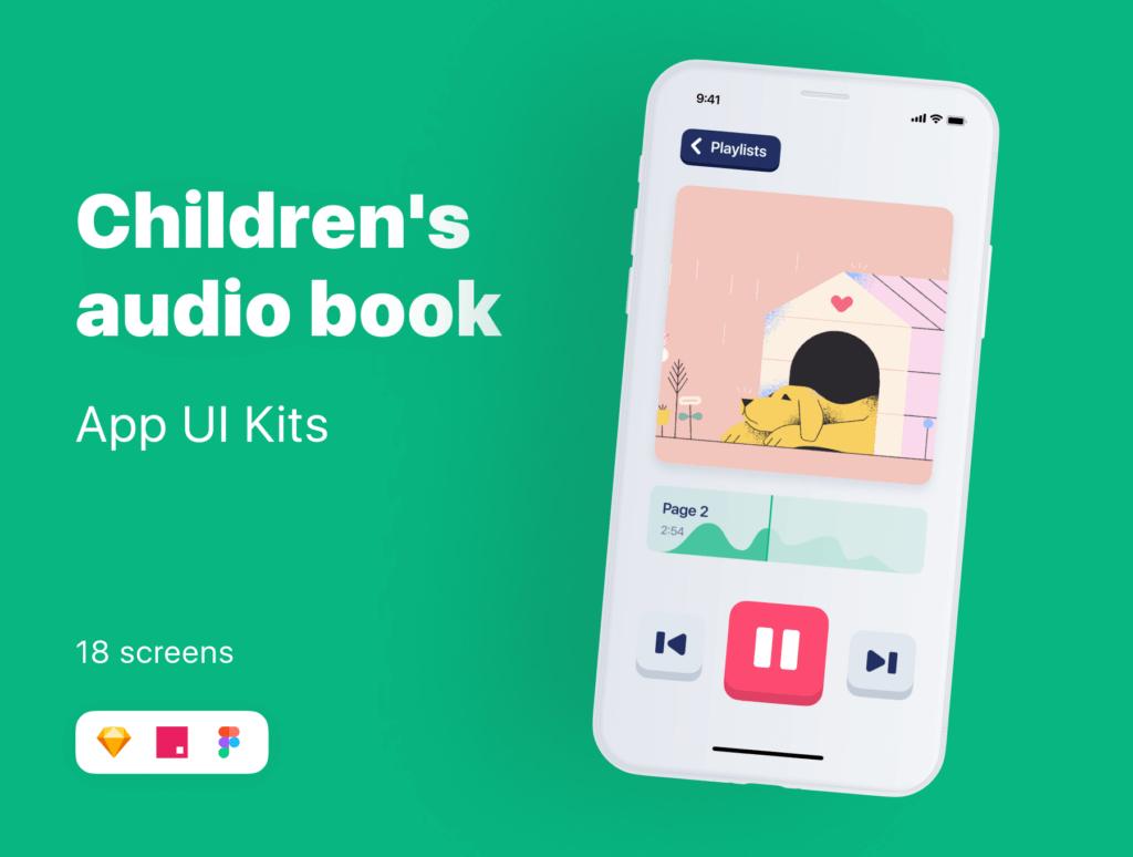儿童有声书个人记录书籍UI设计套件素材模板Kiddo UI Kit插图(1)