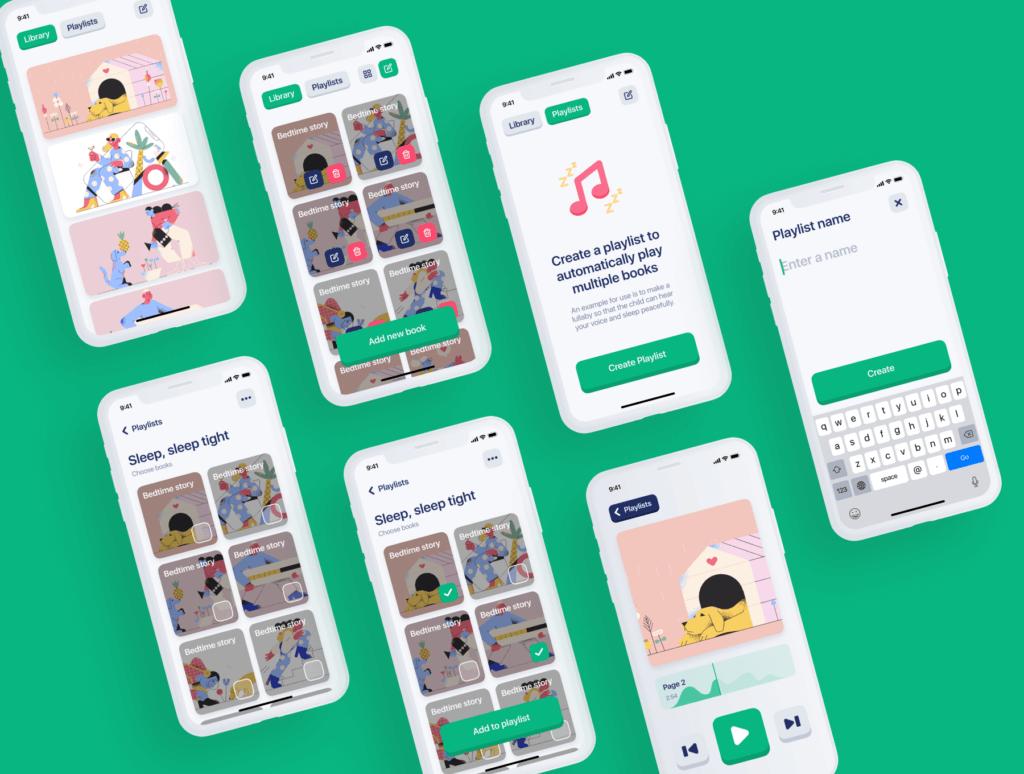 儿童有声书个人记录书籍UI设计套件素材模板Kiddo UI Kit插图(4)
