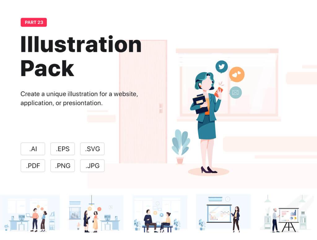 企业市场宣讲矢量扁平插画素材Libra – Business Illustration Pack插图(1)