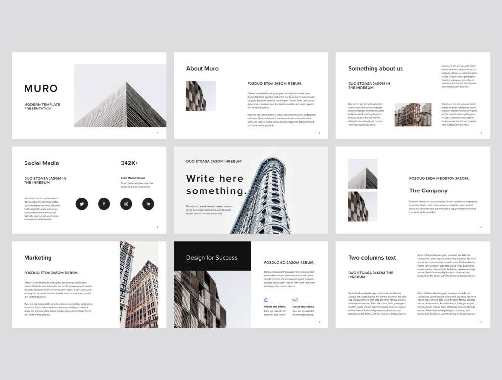 商务时尚幻灯片模板PPT模板素材模板MURO – Modern Powerpoint Presentation插图(1)
