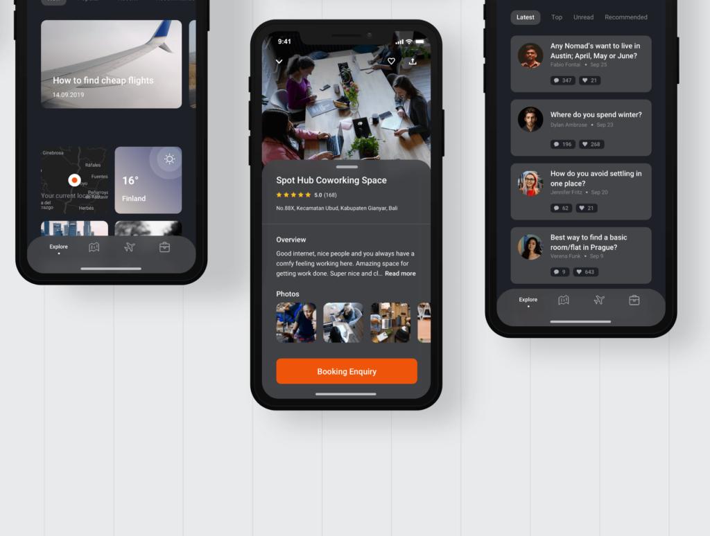 旅行类概念主题UI界面设计套件素材Nomad iOS UI Kit插图(4)