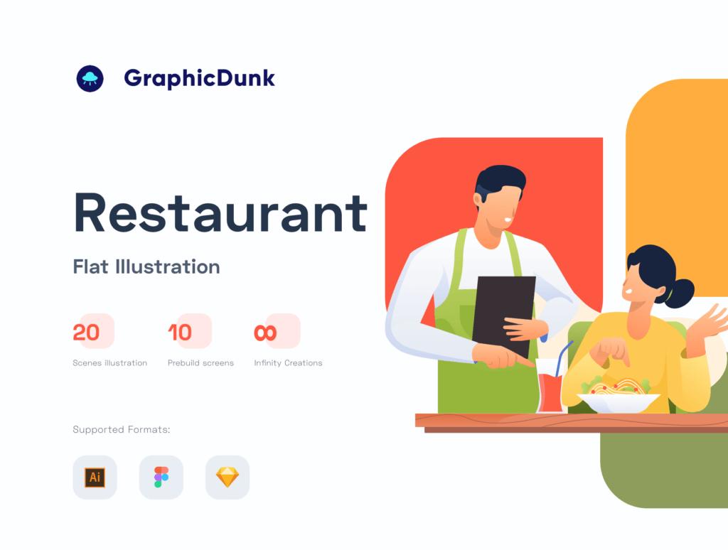 矢量扁平美食餐饮插画图书馆素材Restaurant Illustration Pack插图(1)