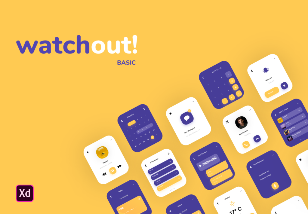 智能手表即时通信应用UI界面设计套watchout! Basic Watch UI Kit插图