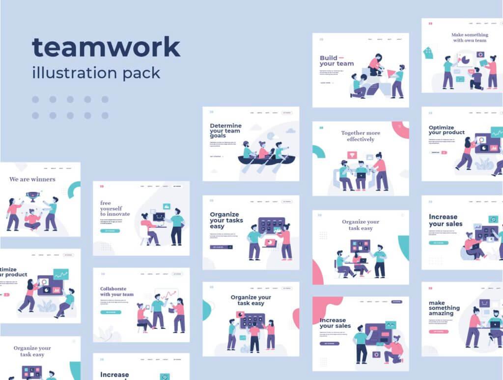 团队办公协作商务汇演扁平插图素材Teamwork Startup Illustration Pack插图(2)