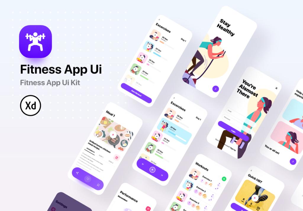 健身场景插画概念主题APP UI设计套件素材模板Fitness App Ui插图