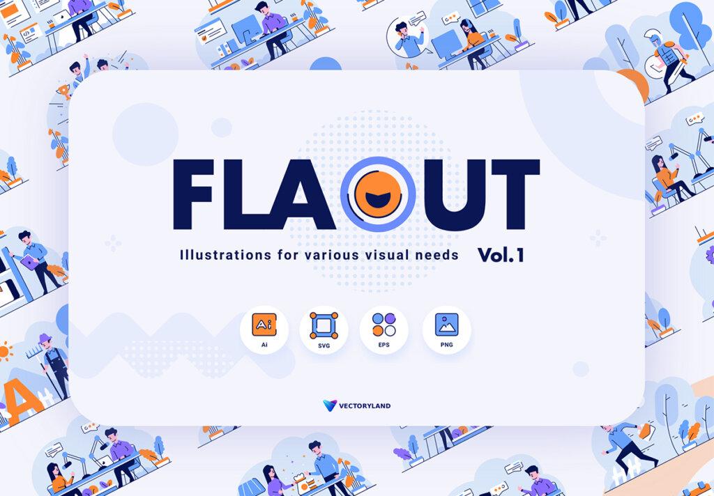 互联网企业办公场景矢量插画素材模板素材FLAOUT Vol. I插图