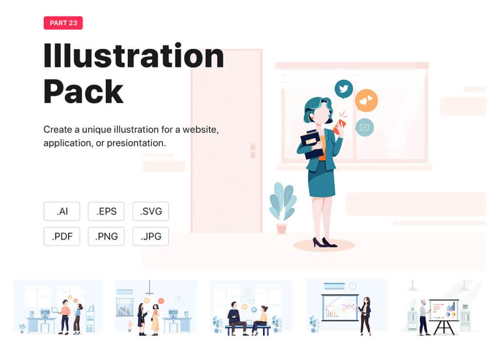 企业市场宣讲矢量扁平插画素材Libra – Business Illustration Pack插图
