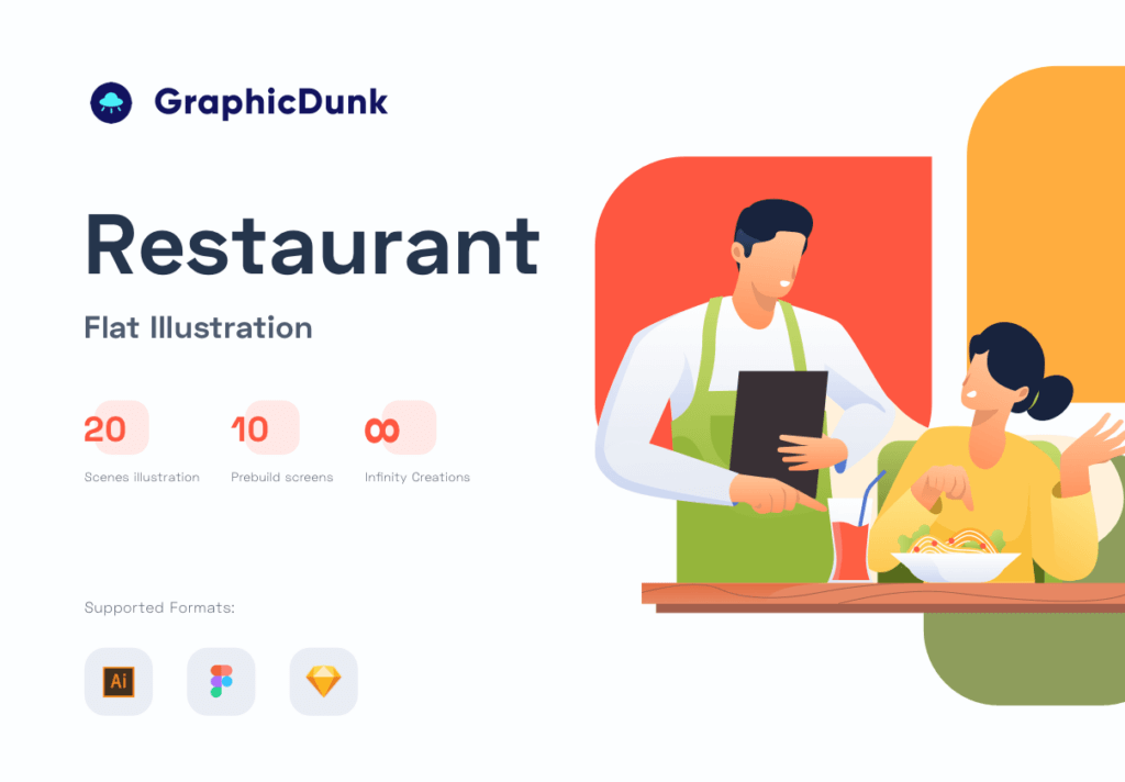 矢量扁平美食餐饮插画图书馆素材Restaurant Illustration Pack插图