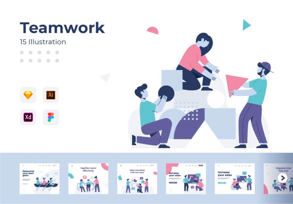 团队办公协作商务汇演扁平插图素材Teamwork Startup Illustration Pack插图