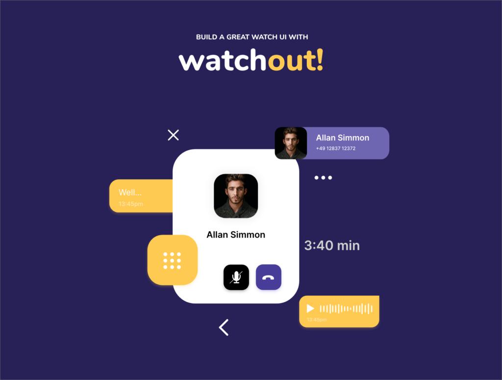 智能手表即时通信应用UI界面设计套watchout! Basic Watch UI Kit插图(3)