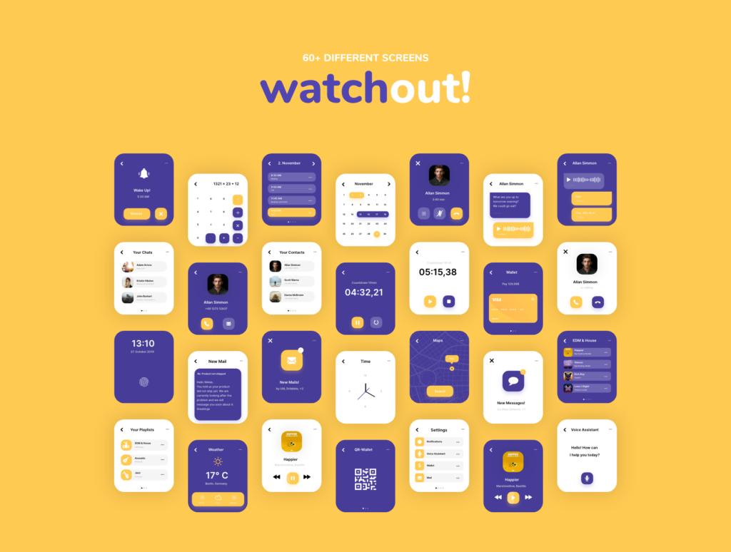 智能手表即时通信应用UI界面设计套watchout! Basic Watch UI Kit插图(4)
