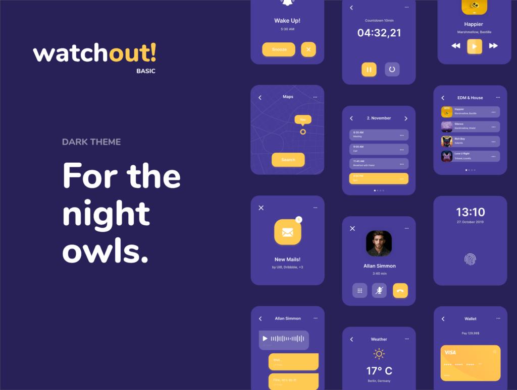 智能手表即时通信应用UI界面设计套watchout! Basic Watch UI Kit插图(6)