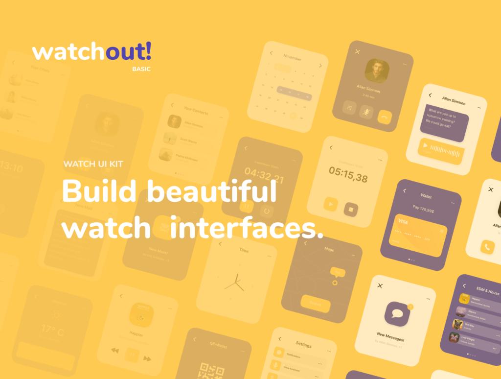 智能手表即时通信应用UI界面设计套watchout! Basic Watch UI Kit插图(8)
