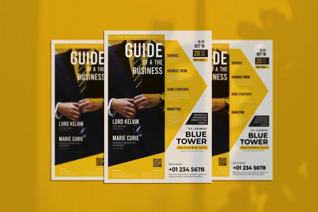 黄色主题风格简约商务传单模板素材下载Guide Business Flyer插图