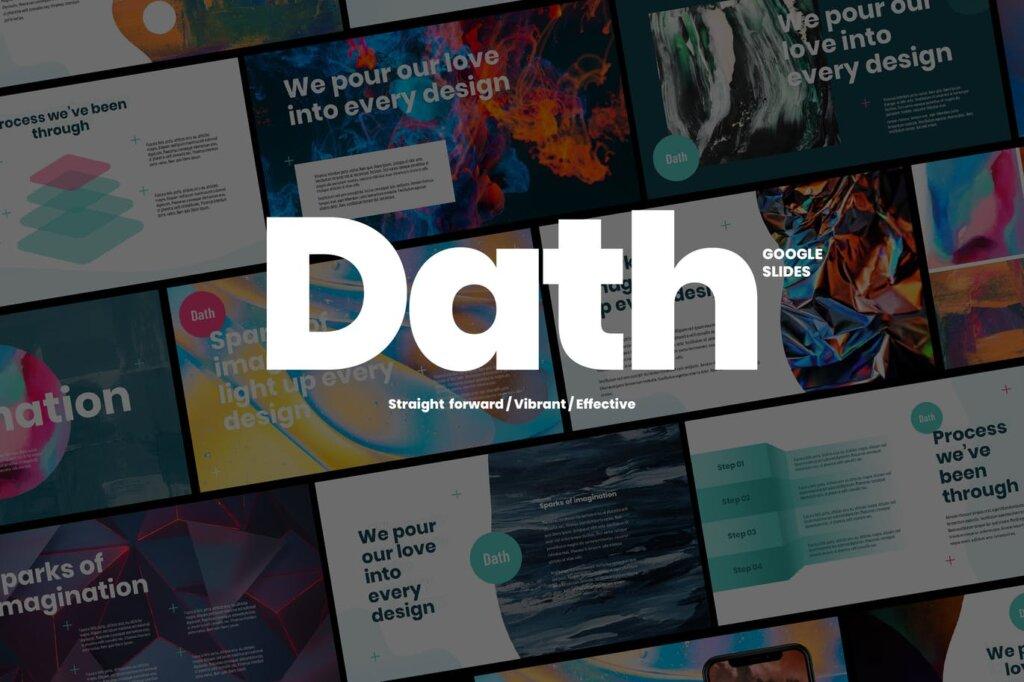渐变时尚风格艺术主题演讲幻灯片PPT模版DATH Creative Business Google Slides插图