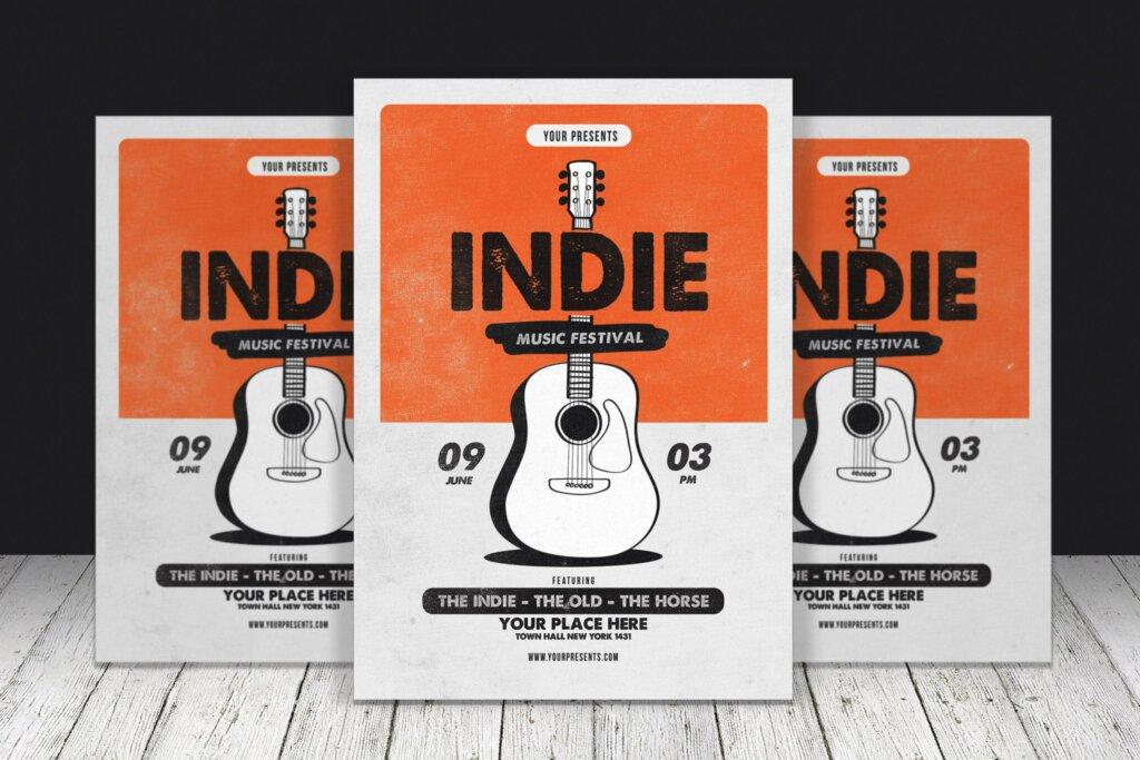 音乐节相关装饰图案宣传单海报模板素材下载Indie Music Festival插图