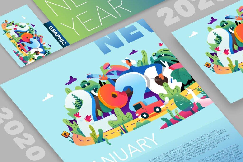 2020年新年创意字符插画海报传单模板素材2020 New Year插图