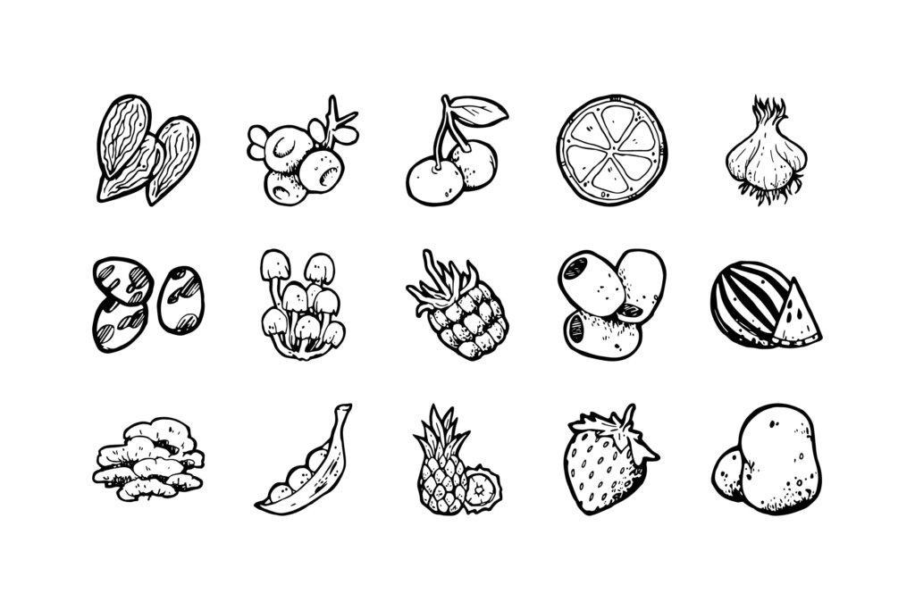 54个手绘食物图标/黑白手绘装饰图案纹理素材54 Food Hand-drawn icons插图