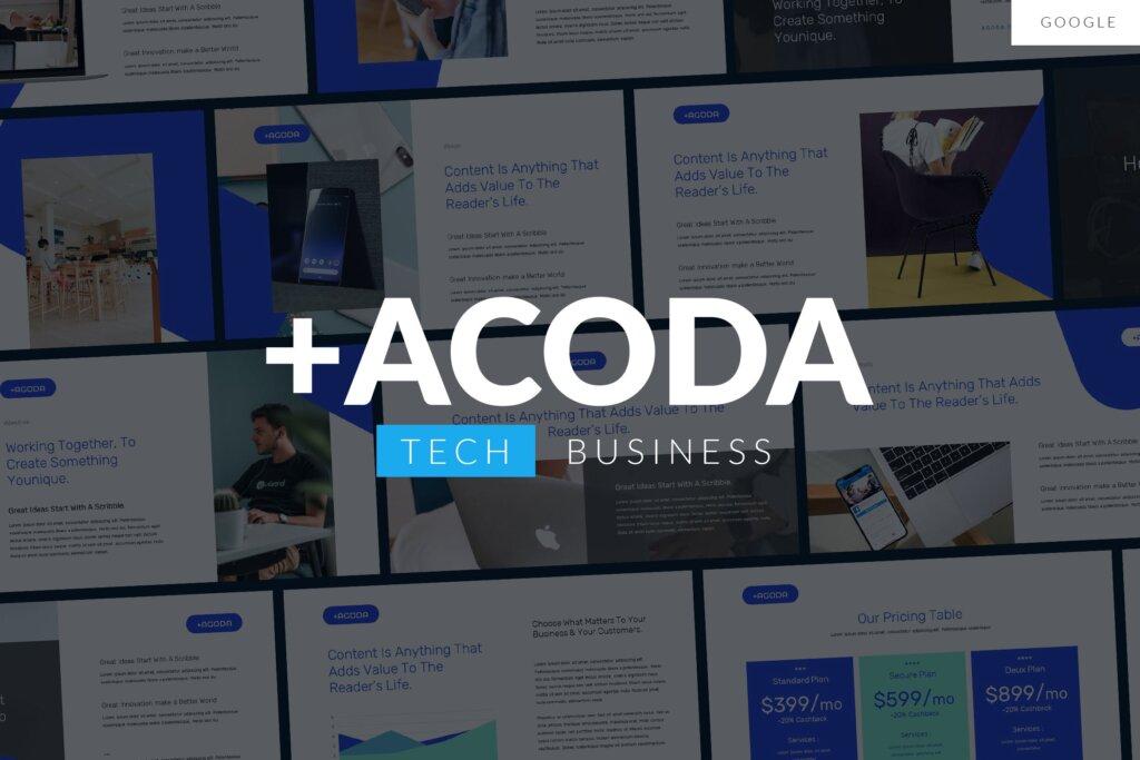 企业内部推介会企业品牌宣传幻灯片PPT模版ACODA Tech Business Google Template插图