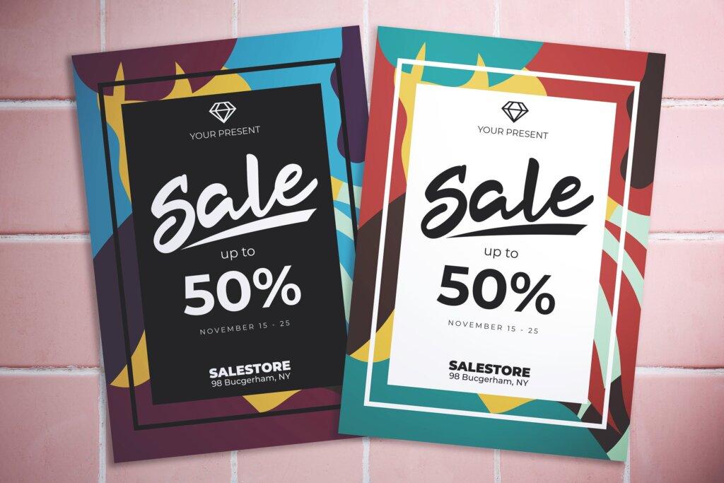 创意抽象渐变色块拼图风格促销海报传单模板素材Abstract Sale Flyer插图