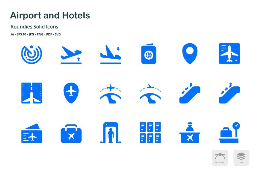 机场和酒店图标线性图标源文件下载Airport and Hotels Roundies Solid Glyph Icons插图