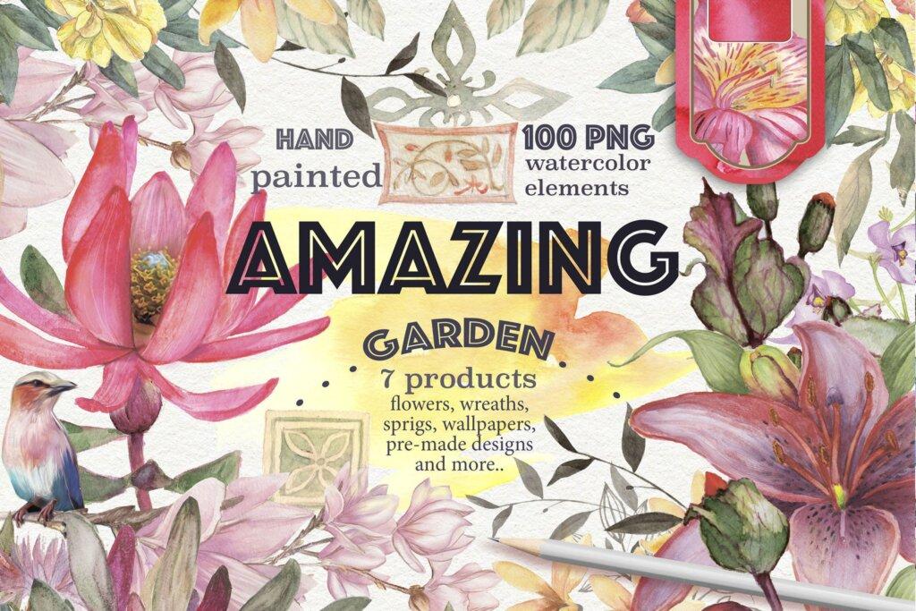 婚礼装饰图案素材模版素材下载'Amazing garden' 100 elements插图
