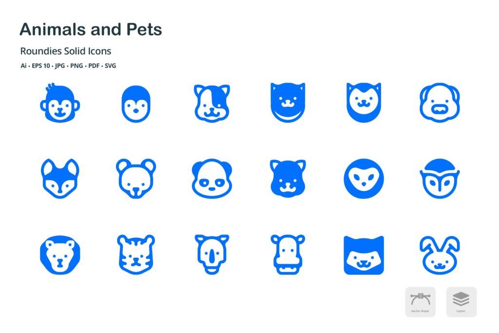 动物和宠物圆形图标矢量文件下载 and Pets Roundies Solid Glyph Icons插图