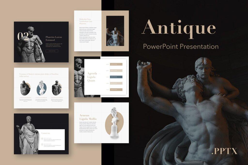 石膏像艺术概念主题幻灯片PPT模板素材下载Antique PowerPoint Template插图