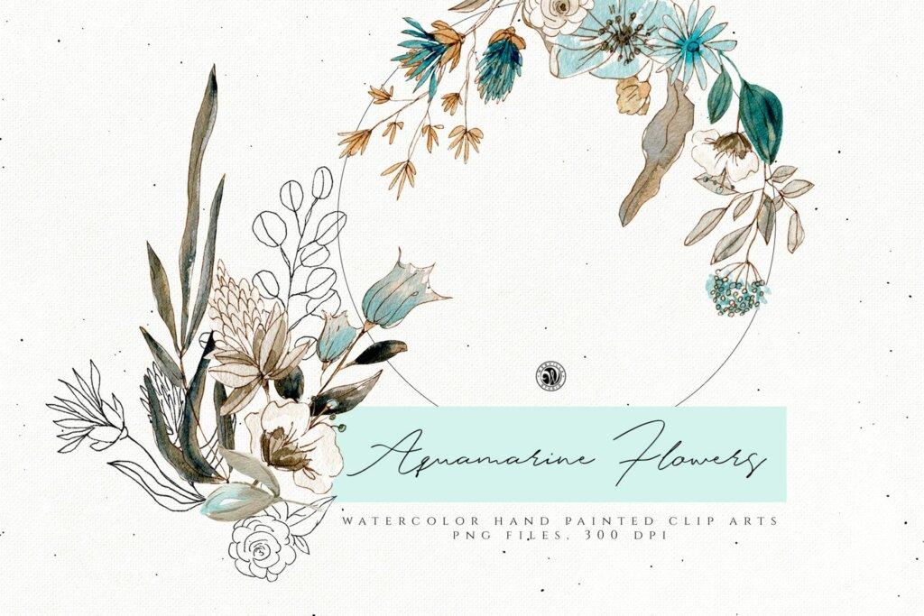 手绘海蓝宝石水彩画花卉水彩素材下载Aquamarine Watercolor Flowers插图