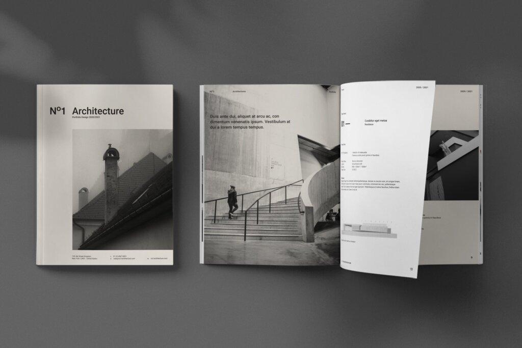 现代建筑艺术博物馆画册模板手册模板素材下载Architecture Brochure插图
