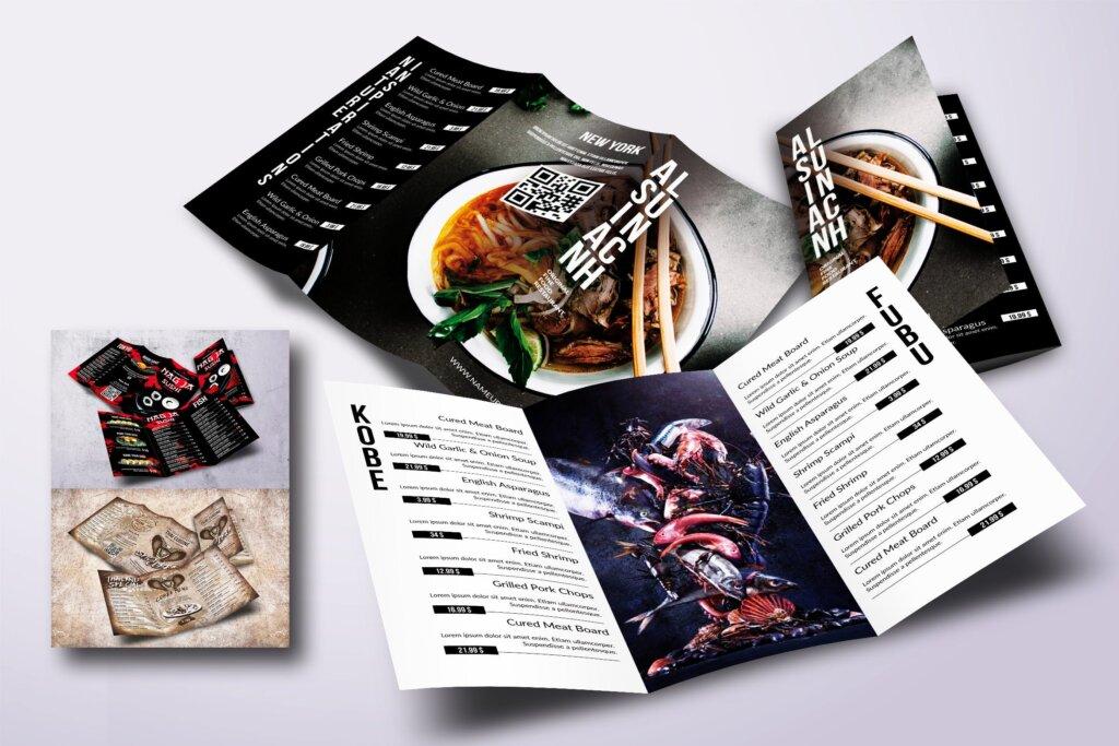 美食餐饮菜单西餐料理菜单模板素材下载Asian Different Trifold Food Menus Bundle插图